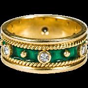 Etruscan Green Enamel Diamond Ring 18k Gold Stacking Diamond Enamel Wedding Band