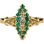 Victorian Emerald Diamond Navette Ring 14k Gold Diamond Emerald Ring
