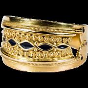 Rare Black Enamel Etruscan Ring 19k Gold Crown Enamel Band