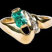 SALE Natural Emerald Diamond Ring 750 18k Gold Emerald Ring