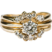 Vintage Diamond Wedding Ring 14k Gold Solitaire Engagement Diamond Sleeve Set