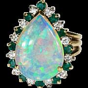 5.84ctw Natural Black Opal Emerald Diamond Ring 18k Gold Opal Emerald Diamond Ring