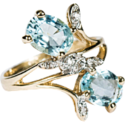 SALE 2.32ctw Natural Aquamarine Diamond Ring 14k Plumb Gold Flower Ring