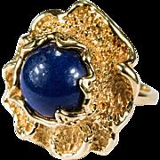 Incredible Natural Lapis Ring 14k Gold Designer Nugget Stone Flower Ring