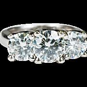 Genuine Vintage 3.68ctw Moissanite Past Present Future Ring 14k Gold Wedding Engagement Ring