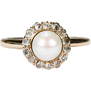 Victorian Old Mine Cut Diamond Halo Pearl Ring 14k Gold Hand Crafted