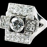 Art Deco 2ctw Old European Cut Natural Diamond Ring Platinum