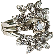 Art Deco 1.33ctw Diamond Snowflake Wedding Band Engagement Ring 14k Gold Diamond Ring Set