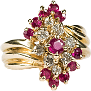 Ruby Diamond Bypass Waterfall Ring 14k Gold