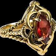Art Deco Garnet Ring 14k Gold Filigree