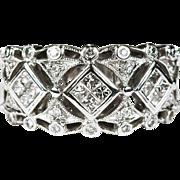 1.15ctw Princess Diamond Ring 14k Filigree Diamond Wedding Band