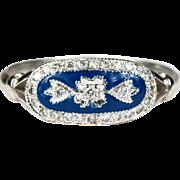 Cobalt Blue Enamel Diamond Ring 750 18k Gold Enamel Ring