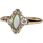 SALE Antique Natural Opal Rose Cut Diamond 14k Gold Hand Crafted Navette Ring