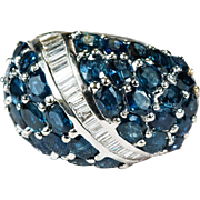 14.50ctw Sapphire Diamond Ring 14k Gold Dome Sapphire Ring