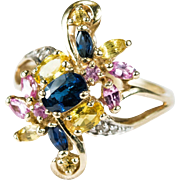 2.53ctw Mixed Sapphire Diamond Ring 10k Gold Swirling Bypass Cluster Ring