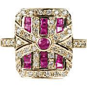 1.50ctw Ruby Diamond Ring 9k Gold Vintage Filigree Ring