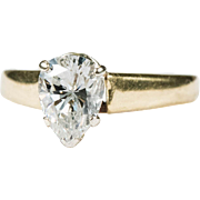 1.28ctw Solitaire Pear Cut Diamond Ring 14k Gold Wedding Engagement Ring