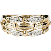 Three Row Diamond Stacking Ring 14k Gold Wedding Band