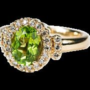 SALE 2.72ctw Genuine Peridot Diamond Ring 14k Gold Effy Designer Ring