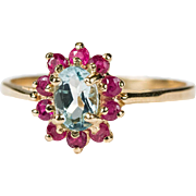 Genuine Aquamarine Ruby Halo Ring 10k Gold