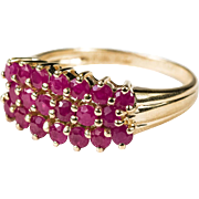 Genuine Ruby 10k Gold Three Row Stacking Band Ring