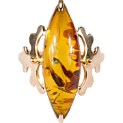 Russian Baltic Amber Ring 14k 583 Rose Gold Hallmarked