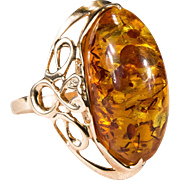 Russian Natural Baltic Amber Ring 14k 583 Rose Gold Hallmarked