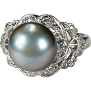 SALE Antique Silver South Sea Pearl Diamond Platinum Ring