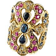 SALE Sapphire Ruby Diamond Ring 750 18k Gold Filigree Wide Band Mixed Gemstone Ring