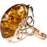SALE Russian Natural Baltic Amber Ring 14k 583 Rose Gold Hallmarked