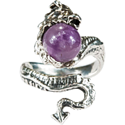Natural Amethyst Crystal Orb Dragon Ring Sterling Silver Amethyst Ring
