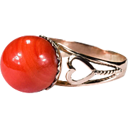 SALE Natural Mediterranean Coral Sardinian Red 14K Rose Gold Coral Ring
