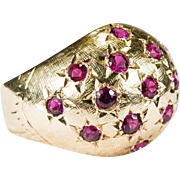SALE Hand Carved Star Ruby Dome Ring 18k Gold