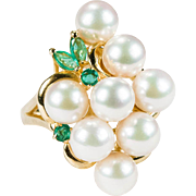 Vintage Pearl Grapes Emerald Ring 585 14k Gold Cultured Pearls