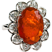 Natural Fire Opal Diamond Ring 14k Gold Orange Opal Ring October Birthstone
