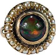SALE Natural Australian Black Opal Pearl Ring 14k Gold