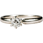 SALE Diamond Solitaire Ring 14k Gold Old Mine Cushion Cut Solitaire Diamond Ring