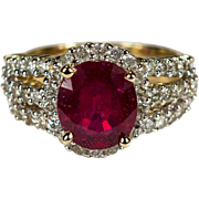 SALE Vintage Genuine Ruby Diamond Ring 14k Gold Diamond Halo Solitaire Ruby Ring