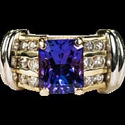 Vintage Natural Tanzanite Diamond Ring 18k Gold Emerald Cut Tanzanite Ring