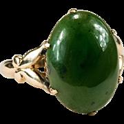 Nephrite Jade Ring Butterfly Hearts Filigree 10k Gold Jade Ring