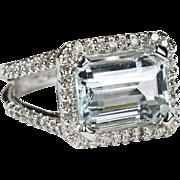5ctw Natural Aquamarine Diamond Ring 14k Gold Estate Appraisal
