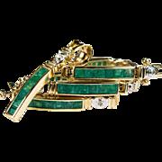 Emerald Diamond Bracelet Pendant 14k Gold Pendant Bracelet Demi Parure Set
