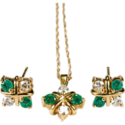 Outstanding Emerald Diamond Hugs Earrings Pendant Necklace 14k Gold Demi Parure Set