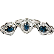 4.5ctw Ballerina Sapphire Diamond Ring Earring Set 750 18k Gold Diamond Sapphire Earrings Ring