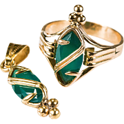 Rare Edwardian Custom Russian Chrysoprase Ring Pendant 18k Rose Gold Set