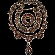 Old Rose Cut Bohemian Garnet Parure Gold Over 900 Silver Garnet Bracelet Garnet Necklace Garne