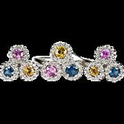 SALE Sapphire Diamond Halo Ring 14k Gold Sapphire Diamond Earrings Set