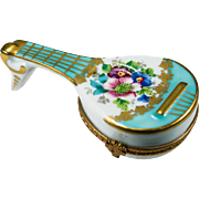 Beautiful Limoges Hand Painted Gold Leaf Mandolin Guitar Trinket Box