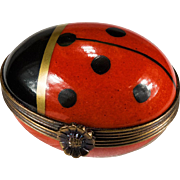 Rare Red Lady Bug Trinket Box Peint Main Limoges France Signed