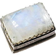 Natural Moonstone Pill Box 925 Sterling Silver Trinket Box